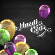 vector typographical holiday illustration of ornate chalk word Mardi Gras on the - stock illustration