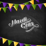 Stock Illustration of vector typographical illustration of ornate chalk word Mardi Gras on the