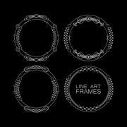 vector set of floral monogram frames. line art elements for design - stock illustration
