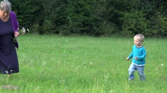 Grandmother and grandson in nature, woman gather flowers, child run happy  Stock Footage