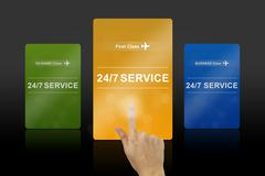 24 hours a day and 7 days a week service gold card Stock Illustration