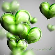 Stock Illustration of vector holiday illustration of flying bunch of green balloon  hearts. Valentines