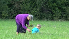Happy little boy running and jumping, grandmother gathering spring flowers  - stock footage