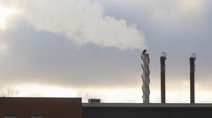 Smoke From Factory - Full HD Slow Motion - Industrial Pollution Stock Footage