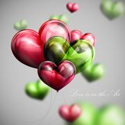 Stock Illustration of vector holiday illustration of flying bunch of multicolored balloon hearts