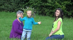 Happy tree generations, grandmother, mother, son with flower coronet laughing  Stock Footage
