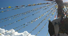 4k buddhist white stupa & flying prayer flags in shangrila yunnan,china. Stock Footage