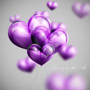 vector holiday illustration of flying bunch of violet balloon balloon hearts - stock illustration