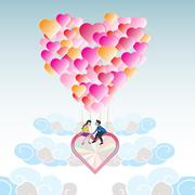 lover on heart balloon flying among the cloud with blue sky - stock illustration