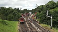 NIGEL GRESLEY STEAM TRAIN, GOATHLAND STATION, NORTH YORKSHIRE Stock Footage