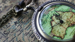 Pocket Watches On The World Map Stock Footage