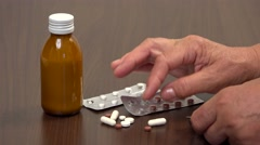 Senior hands sorting medications, choose the pills 4k - stock footage
