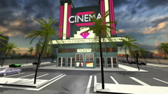 Animated cinema with opening doors and green screen Stock Footage