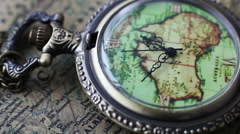 Pocket Watches On The World Map 5 - stock footage