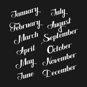 vector typographic illustration of handwritten months of the year (February - stock illustration