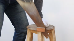 Technician, worker cutting wood with a saw Stock Footage
