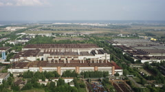 Aerial view district of difference factories  UHD 4K Stock Footage