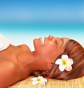 Happy woman on spa resort Stock Photos