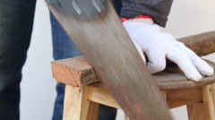 Technician, worker, close up of cutting wood with a saw - stock footage