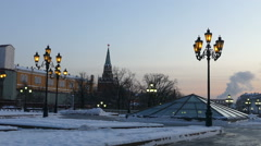 Borovitskaya Tower of the Kremlin in the evening with the Manege Square Stock Footage