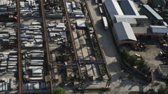 Aerial shot of big outdoor warehouse UHD 4K Stock Footage