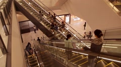 People on escalator at the shopping mall in Tokyo, Japan Stock Footage