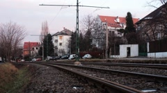 Tram rushes through on it's track in Budapest, Hungary. Stock Footage