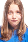 happy teen girl making funny faces - stock photo