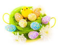 easter eggs and cute chick - stock photo