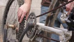 Mechanical Inspection for Fixing a Bicycle Stock Footage