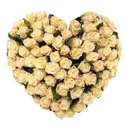 Stock Photo of valentines day heart made of tan roses isolated on white background