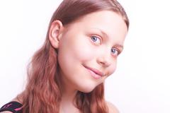 portrait of happy smiling teen girl - stock photo