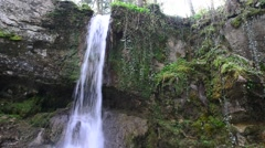 Small Waterfall inside green forest Stock Footage