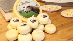 Hard sheep cheese from the Dutch farm Stock Footage