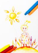 Kiddie style crayon drawing postcard with fresh colours Stock Photos
