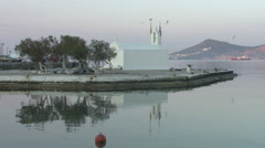 Greece, Naxos, Church of Panagia Myrtidiotissa on Waterfront Stock Footage