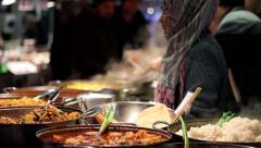 Indian food stall, hot food, Camden Market Stock Footage