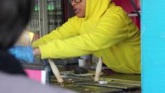 Fajita being made at a street stall Stock Footage