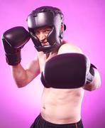 strong aggressive boxer - stock photo
