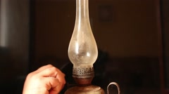 Vintage kerosene lamp - stock footage