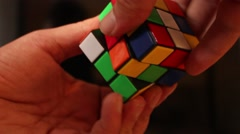 Rubik's cube in man's hands. Magic cube. - stock footage