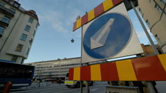 Roadworks sign - Winter street scenes Fridhemsplan,  Stockholm - stock footage
