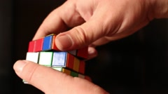 Rubik's cube in man's hands. Magic cube. Stock Footage