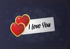"Illustration of ""i love you"" on card with hearts Stock Illustration"