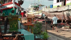 The ships, Boat, Buddhism, shipyard, Dockyard, Asia, trip, Wooden boat, moored Stock Footage