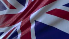 4k clip of a slow motion waving United Kingdom flag. Seamless loop Stock Footage