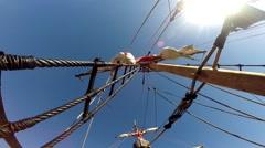Santa Maria de Colombo classic sailing boat mast tilt down Stock Footage