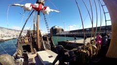 Santa Maria de Colombo deck panning Funchal harbor Stock Footage