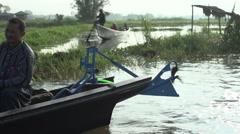 Nyaung Shwe, long boats on Inle lake Stock Footage