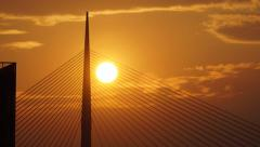 SUNSET TIME LAPS BIGGEST PILON PUPIN BRIDGE BELGRADE - stock footage